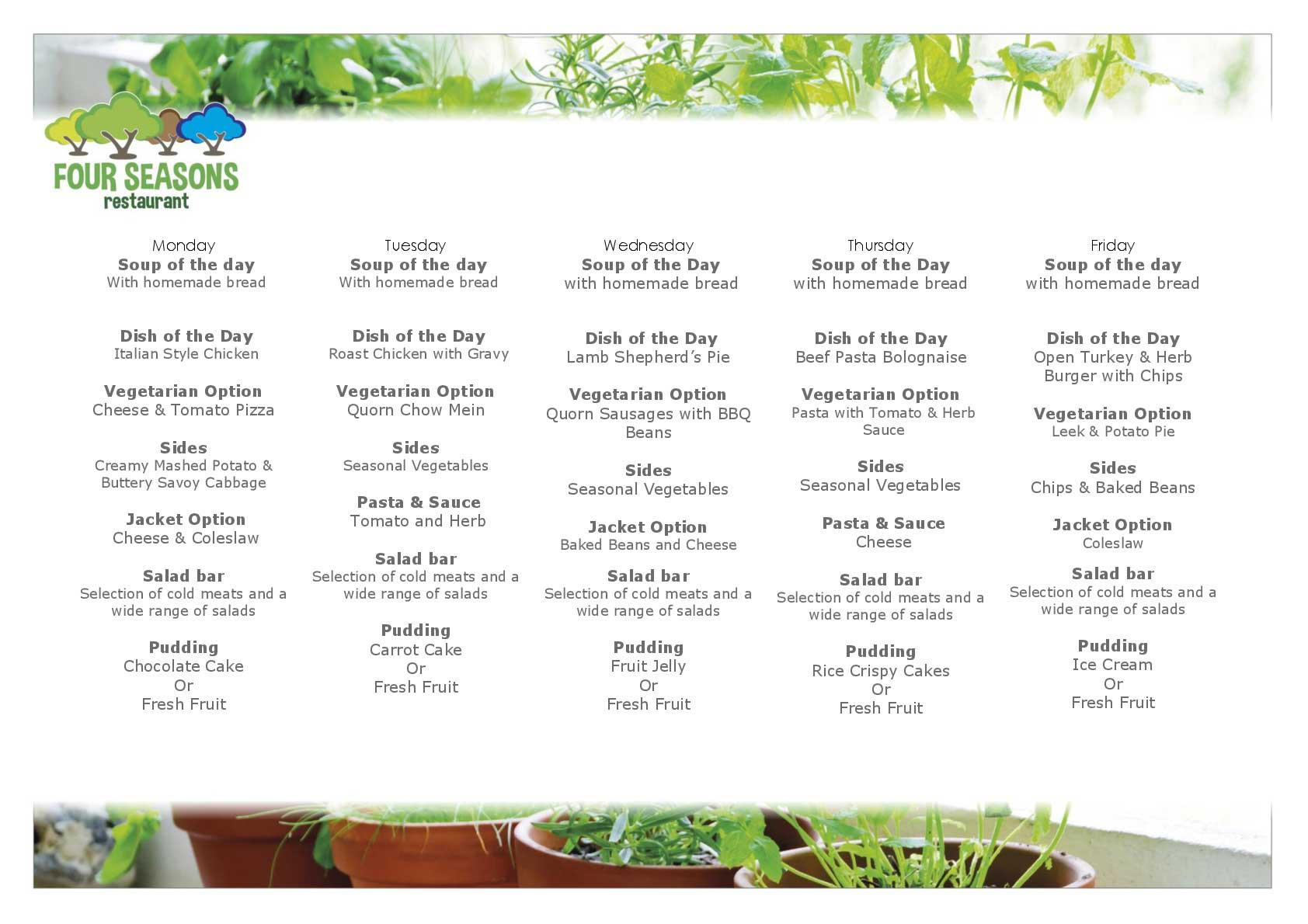Viewan example of our weekly menu